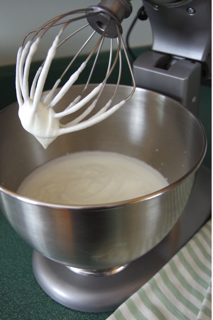 Mixer with freshly made whipped cream.